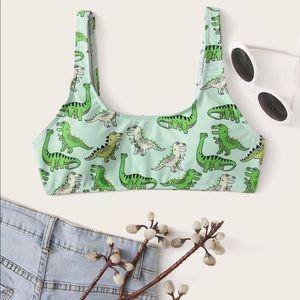 Shein Cartoon Dinosaur bikini top green